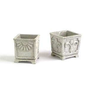 Stone square planters, 2 pc. set