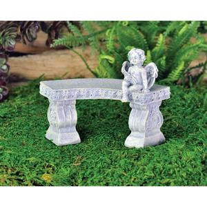 Curved bench with cherub